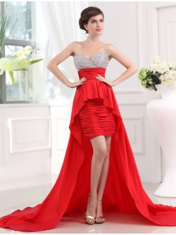 A-Line/Princess Beading Sweetheart Sleeveless Asymmetrical Taffeta Dresses
