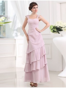 A-Line/Princess Beading Sleeveless Straps Layered Chiffon Ankle-Length Dresses