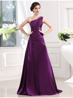 A-Line/Princess One-shoulder Sleeveless Elastic Woven Satin Pleats Sweep/Brush Train Dresses