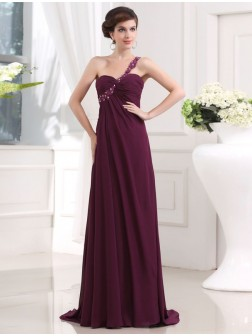 A-Line/Princess Beading One-shoulder Sweetheart Sleeveless Chiffon Sweep/Brush Train Dresses