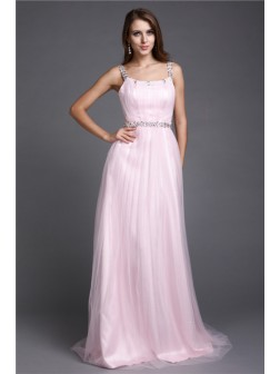 A-Line/Princess Spaghetti Straps Rhinestone Sleeveless Floor-length Net Dresses