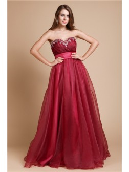 A-Line/Princess Sweetheart Sleeveless Floor-length Organza Dresses