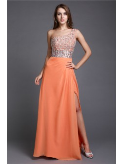 Sheath/Column One Shoulder Floor-length Beading Sleeveless Chiffon Dresses