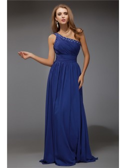 Fantastic Sheath/Column One-Shoulder Sleeveless Beading Floor-Length Chiffon Dresses