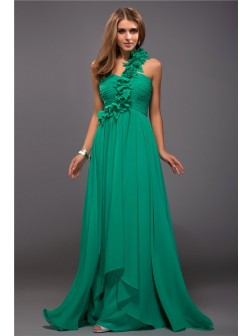 Sheath/Column One Shoulder Ruffles Sleeveless Hand-Made Flower Floor-length Chiffon Dresses