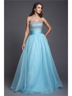 A-Line/Princess Sweetheart Beading Sleeveless Floor-length Organza Prom Dresses