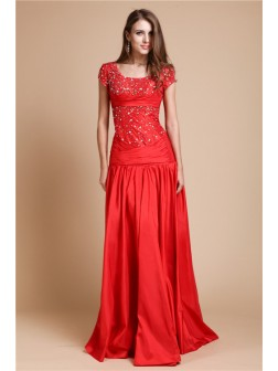 A-Line/Princess Scoop Floor-Length Beading Short Sleeve Taffeta Evening Dresses