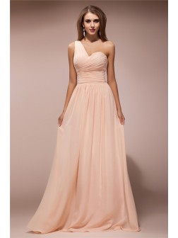 Sheath/Column One-Shoulder Sleeveless Ruffles Floor-Length Chiffon Dresses
