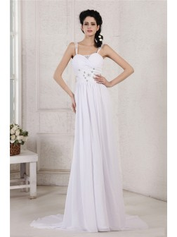 Sheath/Column Spaghetti Strap Pleats Ruched Beading Applique Court Train Chiffon Wedding Dresses