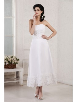 A-Line/Princess Strapless Sleeveless Pleats Applique Beading Tea-Length Chiffon Wedding Dresses