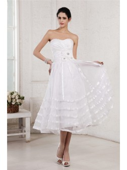 A-Line/Princess Strapless Sleeveless Hand-Made Flower Pleats Tea-Length Organza Taffeta Wedding Dresses