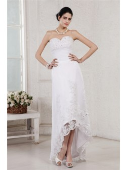 Sheath/Column Sweetheart Sleeveless Beading Applique Asymmetrical Organza Wedding Dresses