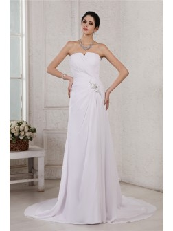 Sheath/Column Strapless Sleeveless Beading Applique Pleats Court Train Chiffon Wedding Dresses