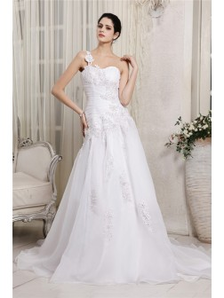 A-Line/Princess One-Shoulder Sleeveless Beading Applique Chapel Train Organza Wedding Dresses