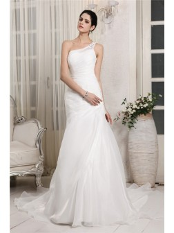 Trumpet/Mermaid One-Shoulder Sleeveless Beading Applique Chapel Train Organza Wedding Dresses