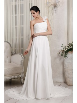 Sheath/Column One-Shoulder Sleeveless Ruffles Chapel Train Chiffon Wedding Dresses