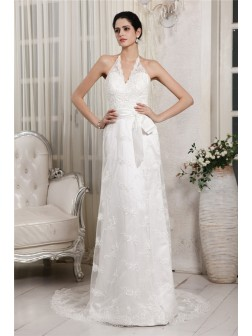 Sheath/Column V-neck Sleeveless Lace Applique Sweep/Brush Train Net Wedding Dresses