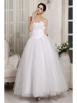 Ball Gown Sweetheart Sleeveless Beading Ankle-Length Organza Wedding Dresses