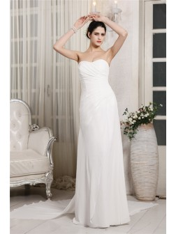 Sheath/Column Sweetheart Sleeveless Ruffles Court Train Chiffon Wedding Dresses