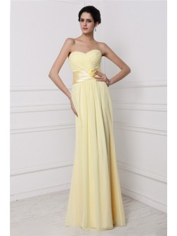 Sheath/Column Strapless Sleeveless Pleats Hand-Made Flower Floor-Length Chiffon Dresses