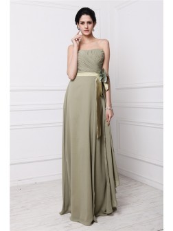 Sheath/Column Strapless Sleeveless Hand-Made Flower Pleats Floor-Length Chiffon Dresses