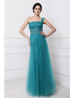 Sheath/Column One-Shoulder Sleeveless Beading Applique Floor-Length Net Dresses