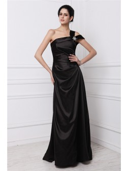 Sheath/Column One-Shoulder Sleeveless Beading Floor-Length Elastic Woven Satin Dresses