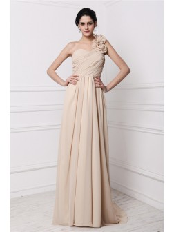 Sheath/Column One-Shoulder Sleeveless Pleats Sweep/Brush Train Chiffon Dresses