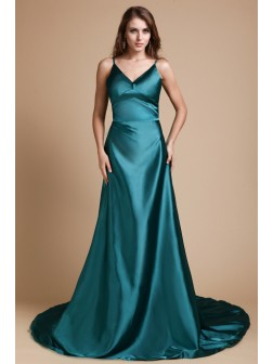 A-Line/Princess Spaghetti Straps Sleeveless Sweep/Brush Train Ruffles Elastic Woven Satin Dresses