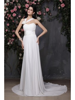 Sheath/Column Halter Sleeveless Hand-Made Flower Pleats Chapel Train Chiffon Wedding Dresses