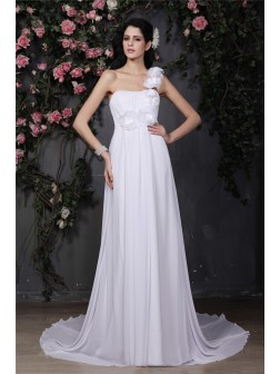 A-Line/Princess One-Shoulder Sleeveless Hand-Made Flower Ruffles Chapel Train Chiffon Wedding Dresses