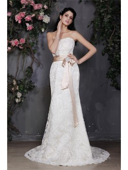 Sheath/Column Strapless Sleeveless Sash Court Train Lace Wedding Dresses
