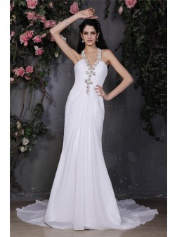 Sheath/Column Halter Sleeveless Beading Ruffles Court Train Chiffon Wedding Dresses