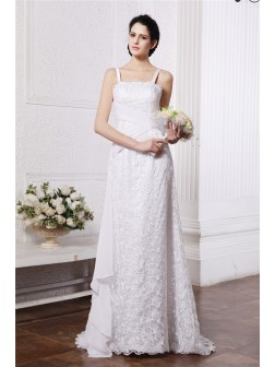 Sheath/Column Square Neck Sleeveless Ruffles Ruched Sweep/Brush Train Chiffon Net Wedding Dresses