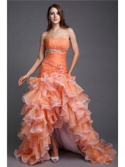 Ball Gown Strapless Beading Sleeveless Asymmetrical Organza Cocktail Dresses