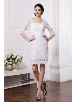 Sheath/Column Half Sleeves Bateau Short/Mini Lace Wedding Dresses