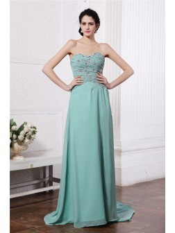Sheath/Column Sweetheart Sleeveless Rhinestone Beading Sweep/Brush Train Chiffon Dresses