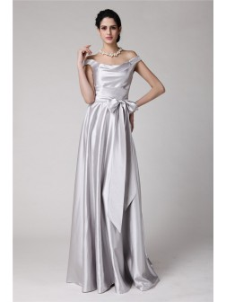 Sheath/Column Off-the-Shoulder Sleeveless Sash Floor-Length Elastic Woven Satin Dresses