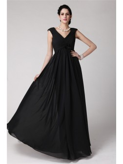 Sheath/Column V-neck Sleeveless Pleats Floor-Length Chiffon Dresses