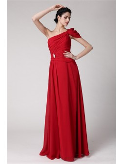 Sheath/Column One-Shoulder Sleeveless Pleats Floor-Length Chiffon Dresses