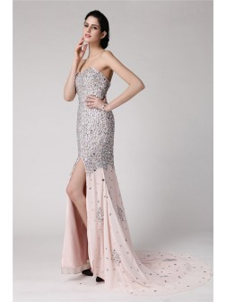 Trumpet/Mermaid Sweetheart Sleeveless Beading Rhinestone Sweep/Brush Train Chiffon Dresses