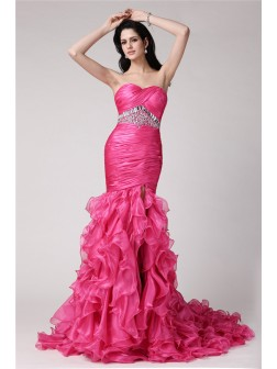 Trumpet/Mermaid Sweetheart Sleeveless Rhinestone Sweep/Brush Train Organza Dresses