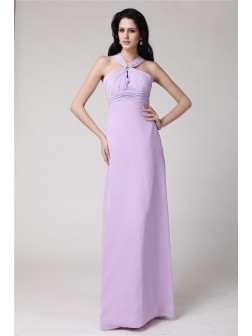 Sheath/Column High Neck Sleeveless Pleats Floor-Length Chiffon Dresses