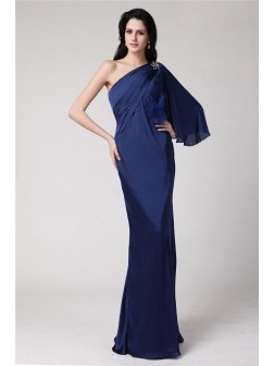 Trumpet/Mermaid One-Shoulder Floor-Length Feather Chiffon Damask Dresses