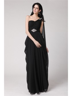 Sheath/Column One-Shoulder Sleeveless Floor-Length Beading Chiffon Dresses