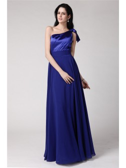 A-Line/Princess One-Shoulder Sleeveless Floor-Length Pleats Elastic Woven Satin Chiffon Dresses
