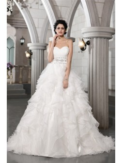Ball Gown Sweetheart Sleeveless Beading Chapel Train Organza Wedding Dresses