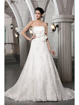 A-Line/Princess Strapless Sleeveless Beading Applique Hand-Made Flower Chapel Train Satin Wedding Dresses