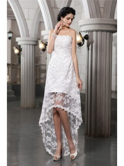 Sheath/Column Strapless Sleeveless Beading Asymmetrical Lace Wedding Dresses