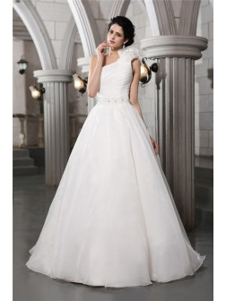 A-Line/Princess One-Shoulder Sleeveless Beading Chapel Train Organza Wedding Dresses
